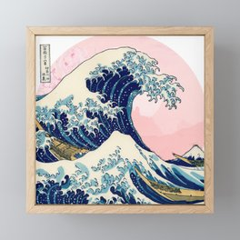 The Great Wave off Kanagawa by Hokusai in pink Framed Mini Art Print
