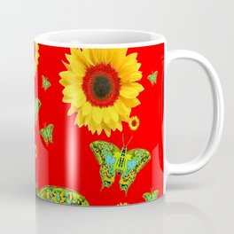 RED COLOR YELLOW SUNFLOWERS GREEN MOTHS Coffee Mug