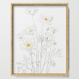 white cosmos flowers  ink and watercolor Serving Tray