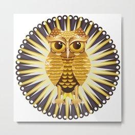 Golden Metal Owl Metal Print