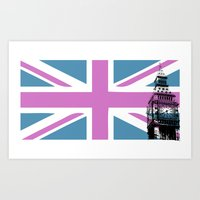Union Jack with Big Ben - Pink and Purple Art Print