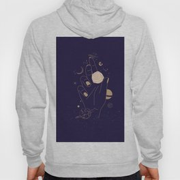 Mystic 94 Minimalist Magical Mystical Golden Line Illustration Outer Space Astrology Planets Stars Solar Systems Zodiac Bohemian Boho Hoody