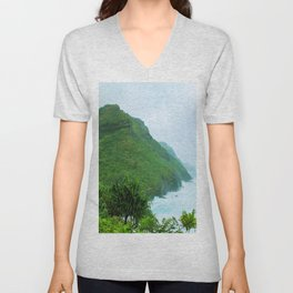 green mountain with blue ocean view at Kauai, Hawaii, USA Unisex V-Neck