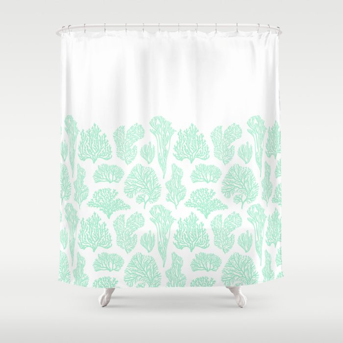 White Corals On Mint Shower Curtain