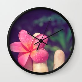 pua melia pink tropical plumeria hawaii Wall Clock
