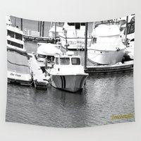 boats Wall Tapestries featuring Boats BW by BeachStudio