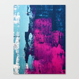 Early Bird: A vibrant minimal abstract piece in blues and pink by Alyssa Hamilton Art Canvas Print