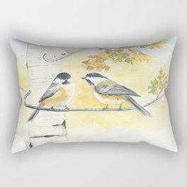 Chickadee and Birch Tree Rectangular Pillow
