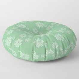Green Succulent Rosettes Organic Pattern - Floral Line Drawing Floor Pillow