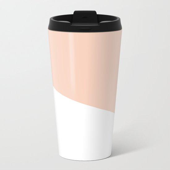 Geometric Blush Pink + White Metal Travel Mug
