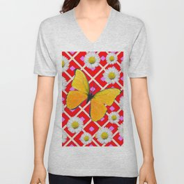 Red Color Shasta Daisys & yellow butterfly Pattern Garden Art Unisex V-Neck