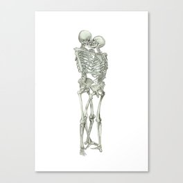 Skeleton Kissing Couple: I will love you Forever Canvas Print