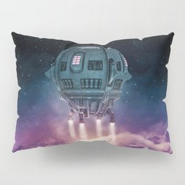 Out of the atmosphere / 3D render of spaceship rising above clouds Pillow Sham