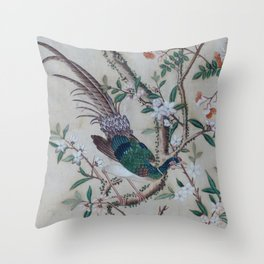 Antique Chinoiserie with Bird Throw Pillow