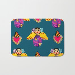 Angels and Corazones (flaming hearts) Bath Mat