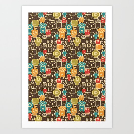 Robots on brown. Art Print