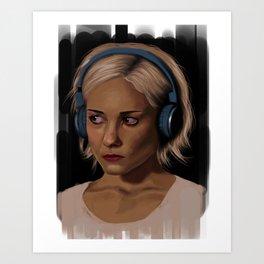 Riley Blue Headphones Portrait Art Print