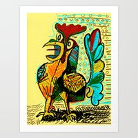 rooster Art Prints featuring Rooster by Matt Vaillette