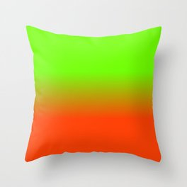 Neon Green and Neon Orange Ombré  Shade Color Fade Throw Pillow