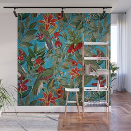 Vintage & Shabby Chic - Tropical Birds and Orchid  Aloha Jungle Flower Garden Wall Mural