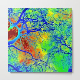 hippy happy tree of life art from Australia and London bright vibrant rainbow spectrum Metal Print