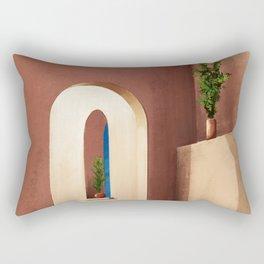 Earthen Walls - Santorini, Greece - Minimalist Travel Painting Rectangular Pillow