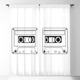Cassette Tape Silhouette Blackout Curtain