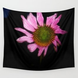 Pink Flower with Black Background Wall Tapestry