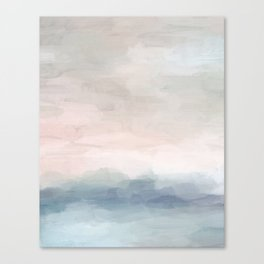 Blush Pink Mint Sky Baby Blue Abstract Ocean Sky Sunrise Wall Art, Water Clouds Painting Canvas Print