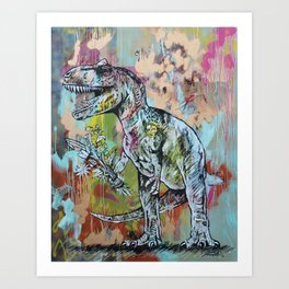 T-Rex with Flowers Art Print