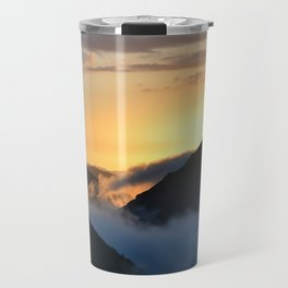 Sunset above the clouds. Travel Mug