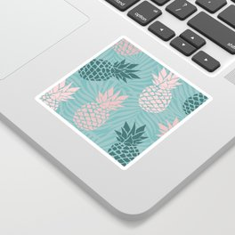 Tropical Pineapple and Palm Leaf Pattern, Teal and Pink Sticker