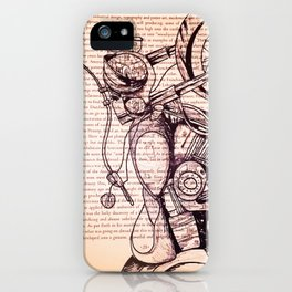 Motorcycle in a Book iPhone Case