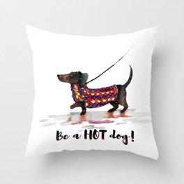 Hot Dachshund dog Throw Pillow