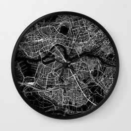 Rotterdam Black Map Wall Clock