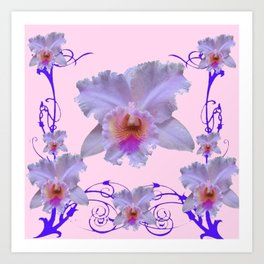 WHITE CATTLEYA ORCHIDS & PURPLE-PINK NOUVEAU ART Art Print