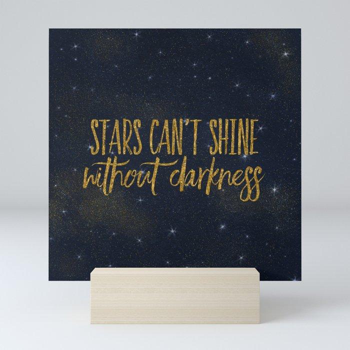 Stars- Darkness - sparkling gold glitter effect night typography Mini Art Print