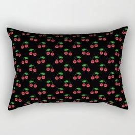 Natural Bright Red Cherries on Black Pattern Rectangular Pillow
