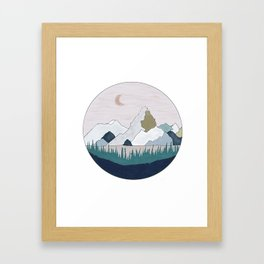 The Moon and Mountain Framed Art Print