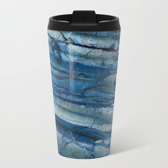 Ocean Depths Blue Marble Metal Travel Mug