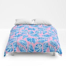 Blue Shells on Pink Comforters