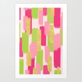 Pink and Gold Glitter Brush Strokes Art Print