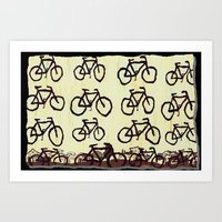 bicycles Art Prints featuring Bicycles by Art & Fantasy by LoRo