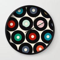 vinyl Wall Clocks featuring VINYL by Sharon Turner