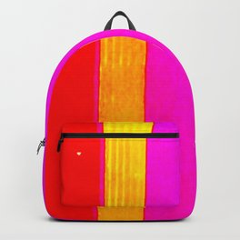 pink red yellow white stripes Backpack