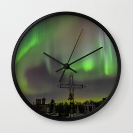 Ghostly Northern Lights Wall Clock