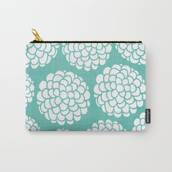 Turquoise Blossoms Carry-All Pouch