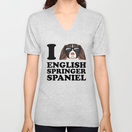 I Love English Springer Spaniel modern v1 Unisex V-Neck