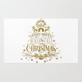 Holly Jolly Christmas- Gold Glitter Typography Rug