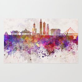 Taipei skyline in watercolor background Rug